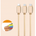 USB кабель (3 в 1) Lightning, microUSB, type C