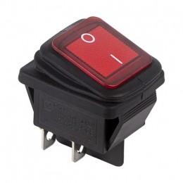 Выключатель клавиша ON-OFF, (2-x поз.) Rexant 250В-15А с красной подсветкой, влагозащищенная