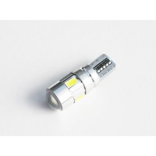 Светодиодная лампа W5W (T10) 6SMD (5630) CAN BUS LENS WHITE